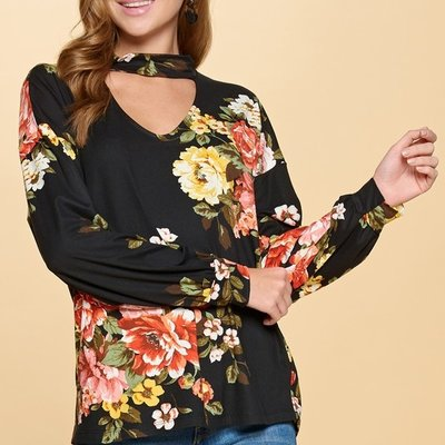Oddi Black Floral Cut Out Buttery Top (S-3XL)