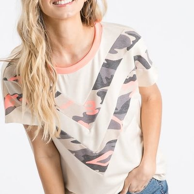 7th Ray Cream Coral Camo Chevron Top (XL only)