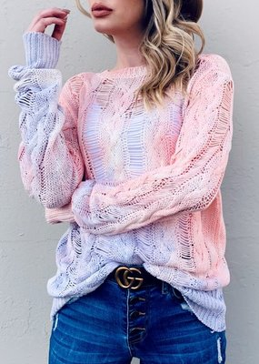 And the Why Tie Dye Shredded Knit Pullover Sweater (S-L)