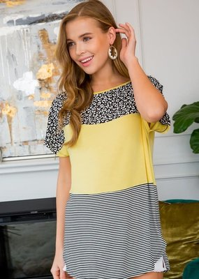 Emerald Collection Yellow Leopard Color Block Top (S-3XL)