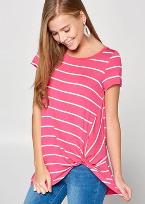 Emerald Collection Hot Pink Striped Twist Top (S-3XL)