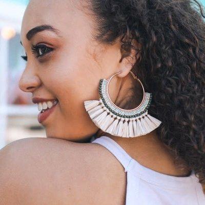 Leto Natural Bead Raffia Fan Hoop Earrings