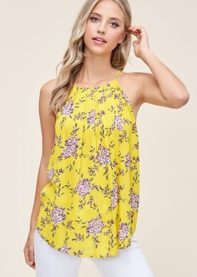Staccato Yellow Pleated Halter Tank (S-L)