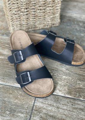 Miami Shoe Black Birk Style Sandals (6-10 RUNS SMALL)