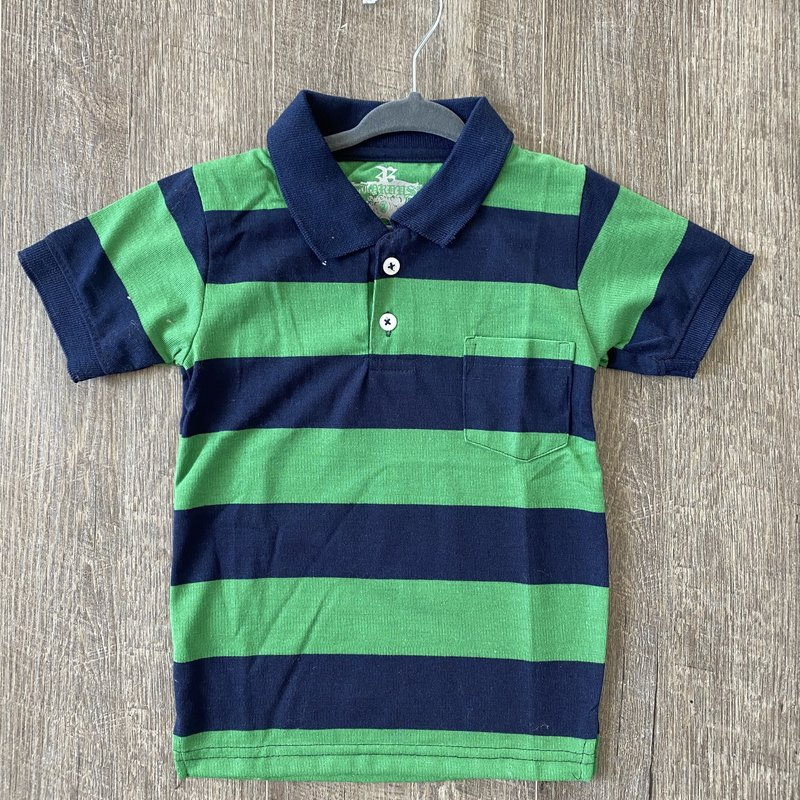 Toby Kids Boys Green Navy Stripe Polo