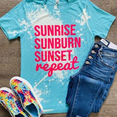 D&E Tees Aqua Sunrise Sunburn Sunset Bleached Tee (S & M Only)