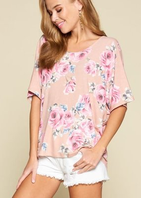Emerald Collection Pink Floral French Terry Top (S-3XL)