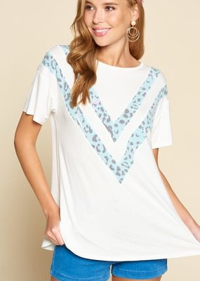 Emerald Collection Ivory Teal Animal Print V Top (3XL only)