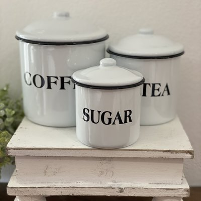 Mullberry White Labeled Enamelware Canisters