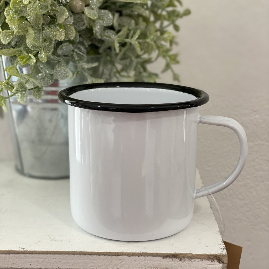 White Enamelware Cup