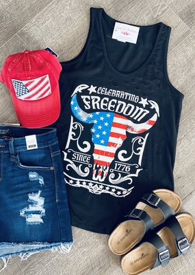 Color Bear 1776 Freedom Distressed Tank (S-L)