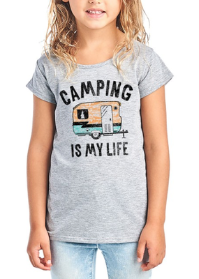Color Bear Girls Graphic Camping Tee