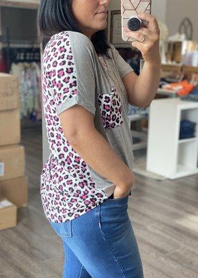 Reborn J Heather Gray & Pink Leopard Top (S-XL)