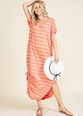 Reborn J Coral Ivory Stripe Maxi Dress (Oversized!)