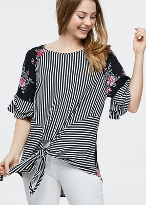 White Birch Black Stripe and Floral Top (S-XL)