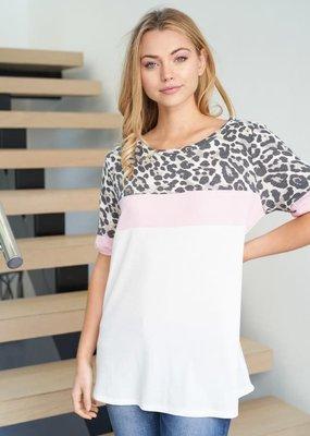 White Birch Blush Ivory Cheetah Top (S-XL)