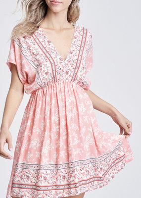 White Birch Coral Floral V-Neck Dress (S-XL)
