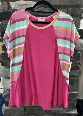 Oddi Pink Stripe Solid Knit Tee (XL-3XL)