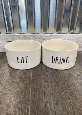 "Rae Dunn Rae Dunn Stem Print Small Pet Bowl Set ""Eat/Drink"""