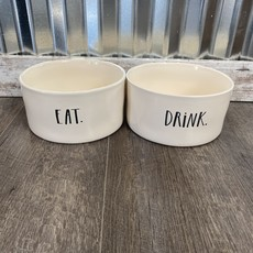 "Rae Dunn Rae Dunn Stem Print Large Pet Bowl Set ""Eat/Drink"""