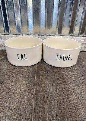 "Rae Dunn Rae Dunn Stem Print Large Pet Bowl Set ""Eat/Drink"""