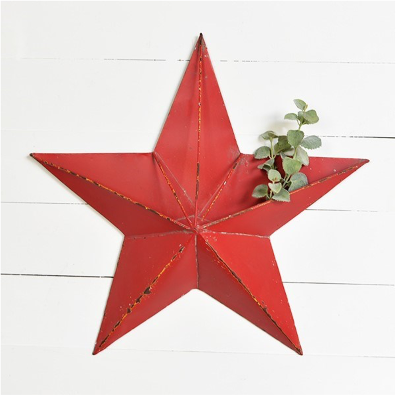 """Pd Home & Garden 25"""" Large Red Tin Pocket Star"""
