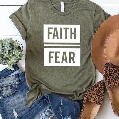 Kissed Apparel Faith Over Fear Olive Tee (S-3XL)