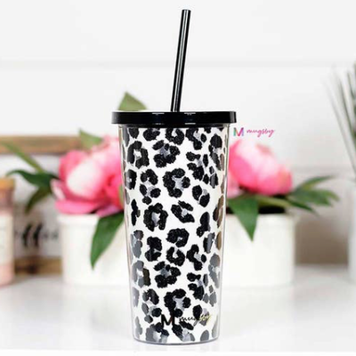 Mugsby Snow Leopard Tumbler with Straw