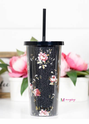 Mugsby Vintage Floral Tumbler with Straw