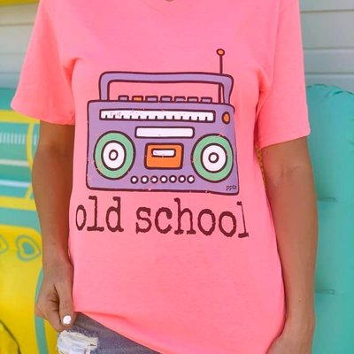 PPTX Old School Hot Pink V-Neck Tee (2XL & 3XL Only)