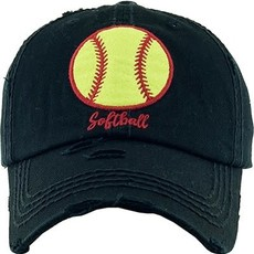 Your Fashion Wholesale Black Softball Distressed Hat