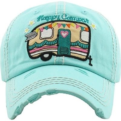 Your Fashion Wholesale Happy Camper Vintage Hat - Light Turquoise