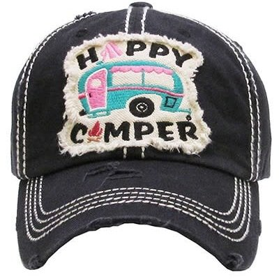 Your Fashion Wholesale Happy Camper Vintage Hat (Black or Charcoal)