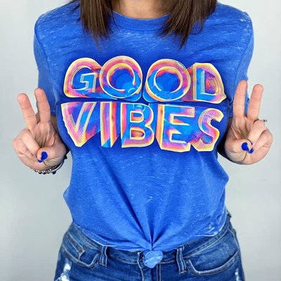 Haute Mess Good Vibes Burnout Royal Blue Tee (S-2XL)
