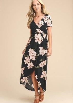Vanilla Bay Black Ivory Floral V-Neck Dress (S-3XL)