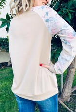 And the Why Tan Blue Floral Long Sleeve Top (S-L)