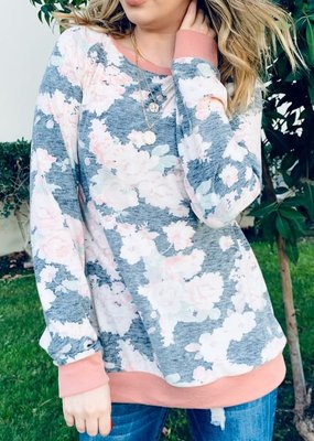 And the Why Gray Mauve Floral Long Sleeve Top (S-L)