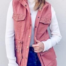 and the way Mauve Lace Detailed Pocket Vest (S-M)