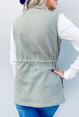 and the way Olive Lace Detailed Pocket Vest (S-L)
