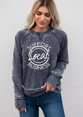 Ocean & 7th Gray Support Local Business Crew Neck (S & 2XL only)