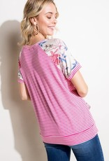 Clothing of America Raspberry Floral Stripe Top