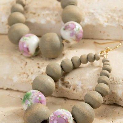 urbanista Lavender Gray Floral Wood Beaded Earrings