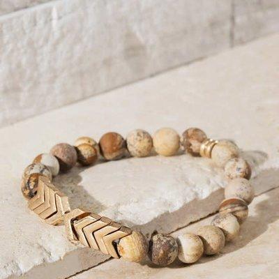 urbanista Tan Chevron & Stone Bracelet