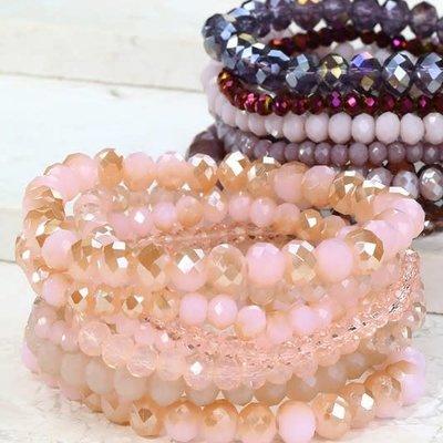 urbanista Shimmering Pink Beaded Bracelet Set