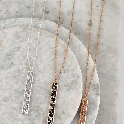 urbanista Glitter Stone Bar Pendant Necklace (Black/Silver/Gold)