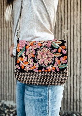 Panache Stitched Floral Crossbody Bag