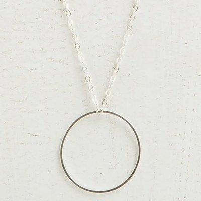 Panache Long Silver Circle Necklace