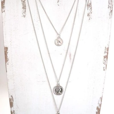 Panache Silver Long Layered Coin Necklace