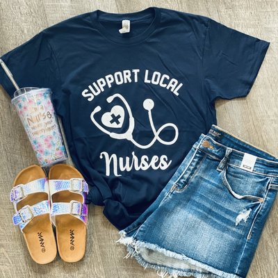 Color Bear Navy Support Local Nurses Tee (3XL only)