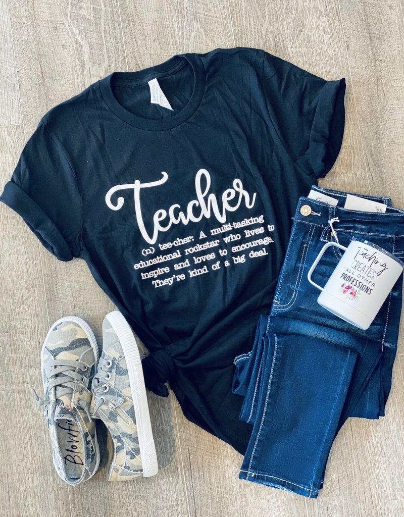 Ocean & 7th Teacher Definition Black Tee (S-3XL)